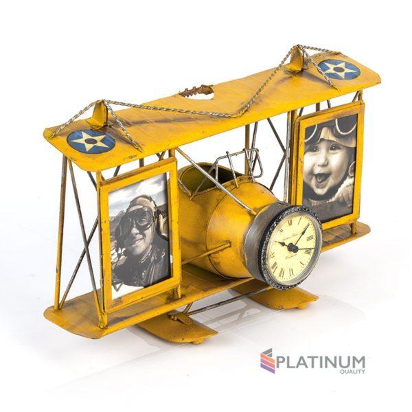 1404B-1306 Две фоторамки с подставкой для ручек Часы-Аэроплан