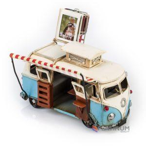 1404E-4352 Модель Ретро Автобус белый с голубым, с фоторамкой