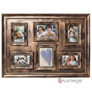 """Фоторамка """"Platinum"""", цвет: золотистый, на 6 фото"""