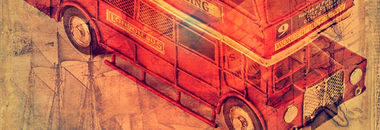 Ретро модель Лондонский автобус с двумя фоторамками т копилкой